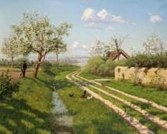 обои для рабочего стола 1963x1575 рисованные, борис, бессонов, деревня, домик, крыша, деревья, весна, цветение, дорога, обочина, трава, куры