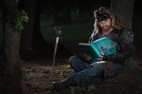 лес, очки, сабля, сказки, книга, мужик