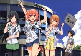 аниме, oregairu, isshiki, iroha, парень, девушки, yukinoshita, yukino, yuigahama, yui, hikigaya, hachiman, арт