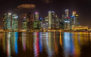 обои для рабочего стола 2880x1800 города, сингапур , сингапур, залив, побережье, небоскребы, ночь, огни