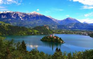города, - католические соборы,  костелы,  аббатства, озеро, блед, словения, горы, церковь, дома, деревья, остров
