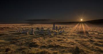 обои для рабочего стола 2048x1085 природа, восходы, закаты, stone, circle, dartmoor, national, park, sunrise