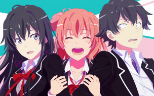 аниме, oregairu, yuigahama, yui, anime, art, yukinoshita, yukino, парень, девушки, hikigaya, hachiman