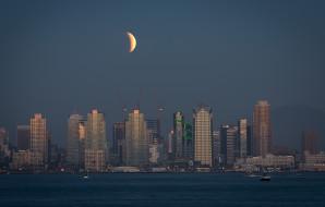 города, сан-диего , сша, ночь, здания, california, san, diego, луна