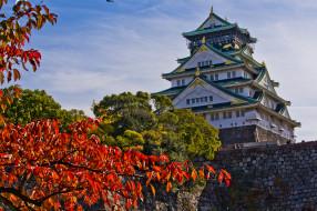 osakacastle, города, замки Японии, замок, парк