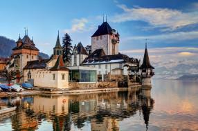 oberhofen castle, города, замок оберхофен , швейцария, озеро, замок, горы