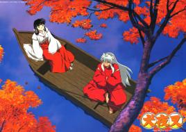 аниме, inuyasha, инуяша, кикио, озеро, лодка
