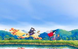 аниме, inuyasha, друзья, takahashi, rumiko, небо, shippou, арт, sango, miroku, kirara, higurashi, kagome