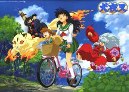 аниме, inuyasha, sango, miroku, kirara, higurashi, kagome, shippou, путешествие