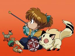 аниме, inuyasha, shippou, kirara, кирара, шиппо, мяч, игрушки, лисёнок