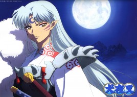 аниме, inuyasha, луна, sesshomaru, ночь