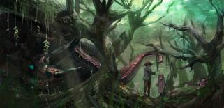 аниме, животные,  существа, арт, syo5, мальчик, девочка, дети, лес, деревья, монстр, природа
