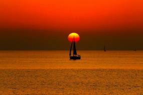 корабли, Яхты, парус, яхта, лодка, море, закат, солнце, небо