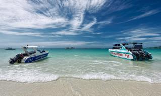 корабли, катера, катер, пляж