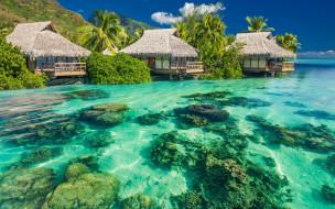 обои для рабочего стола 2880x1800 природа, тропики, небо, пальмы, бунгало, камни, вода, океан