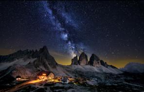 космос, галактики, туманности, дом, природа, горы, ночь