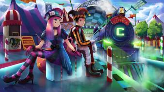 обои для рабочего стола 1920x1080 аниме, магия,  колдовство,  halloween, liclac, арт, парень, девушка, костюмы, поезд, карнавал