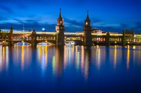 города, берлин , германия, город, ночь, огни, река, берлин