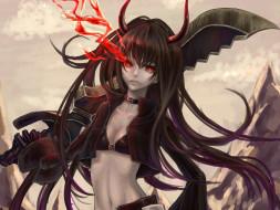 аниме, black rock shooter, девушка, art, стрелок, с, черной, скалы, взгляд, black, gold, saw, демон, роза, магия, оружие