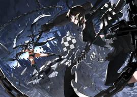 аниме, black rock shooter, девушки, оружие, бой, поединок