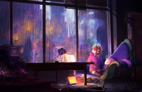 аниме, chobits, техника, комната, окно, арт, девочка, oright