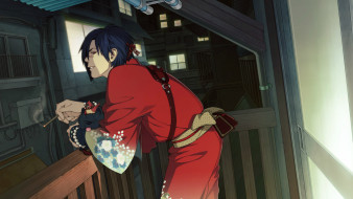 обои для рабочего стола 1920x1080 аниме, dramatical murder, окна, сигарета, art, шрам, вечер, балкон, кимоно, собачка, драматическое, убийство, koujaku, ren, honyarara, dramatical, murder