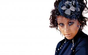 пирсинг, лицо, взгляд, вуаль, шляпа, Кристина Агилера, певица