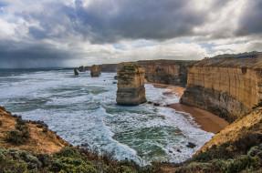 природа, побережье, пляж, скалы, океан