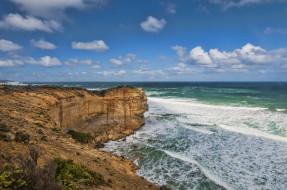 природа, побережье, пляж, океан, скалы