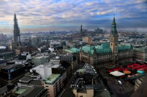 города, - панорамы, площадь, башня, шпиль, вокзал