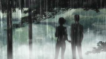 аниме, kotonoha no niwa, takao, akizuki, yukari, yukino, сад, изящных, слов, makoto, shinkai, the, garden, of, words, kotonoha, no, niwa, парк, дождь, деревья, двое