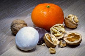 обои для рабочего стола 2048x1367 еда, разное, апельсин, орехи
