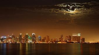 города, сан-диего , сша, ночь, город, огни, тучи, луна, море