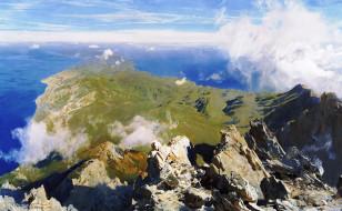 Панорама Афона с вершины Святой горы обои для рабочего стола 3543x2186 панорама афона с вершины святой горы, рисованное, дмитрий белюкин, высота, облака, скалы, горы