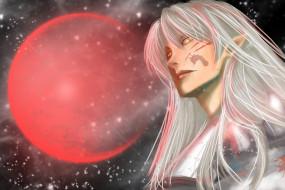 разное, арты, красная, луна, сешимару, демон, аниме, инуяша, арт