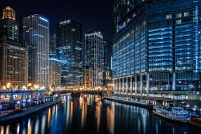 chicago river, города, Чикаго , сша, небоскребы, река, ночь, огни