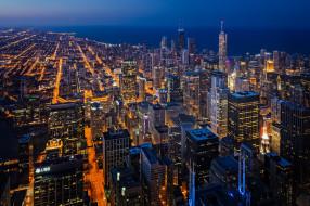 chicago,  il, города, Чикаго , сша, небоскребы, огни, ночь