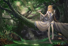 аниме, unknown,  другое, перья, цветы, бумажный, самолетик, свет, диадема, корона, деревья, лес, браслет, платье, девушка, ylpylf