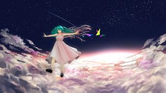 обои для рабочего стола 2400x1350 аниме, vocaloid, небо, облака, звезды, yue, арт, закат, hatsune, miku, девушка, yueanh