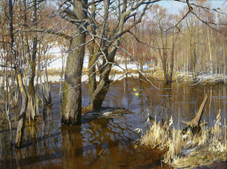 разлив сетуни - зяблов Ярослав, рисованное, живопись, река, деревья, весна, снег, вода, половодье
