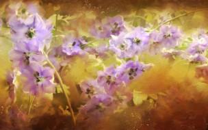 обои для рабочего стола 2880x1800 рисованное, цветы, дельфиниум, сиреневый