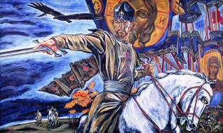 куликово поле, рисованное, люди, князь, кони, всадники, птицы, флаги, знамена, войско