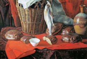 пять хлебов, рисованное, виктор маторин, стол, ткань, хлеб, корзина, рыба, кувшин