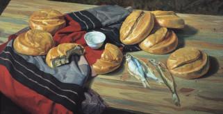 Семь хлебов обои для рабочего стола 2331x1200 семь хлебов, рисованное, виктор маторин, стол, соль, хлеб, рыба, ткань, натюрморт