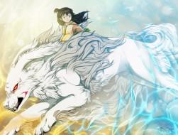 аниме, inuyasha, арт, инуяша, сешимару, рин, демон-пёс, девочка