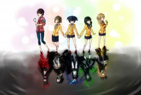 аниме, black rock shooter, izuriha, kagari, irino, saya, takanashi, yomi, отражение, девушки, арт, kuroi, mato, koutari, yuu
