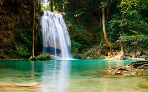 водопад, река, обрыв, лес