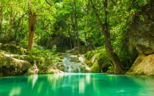 обои для рабочего стола 2880x1800 природа, реки, озера, джунгли, камни, деревья, зелень, тропики, водопад, ручей, лес, озеро, лето