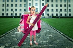 ранец, карандаш, школьница
