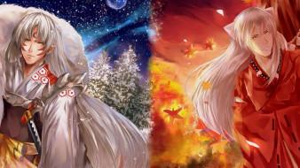 аниме, inuyasha, полу-демон, осень, сешимару, инуяша, демон-пёс, арт, зима, братья